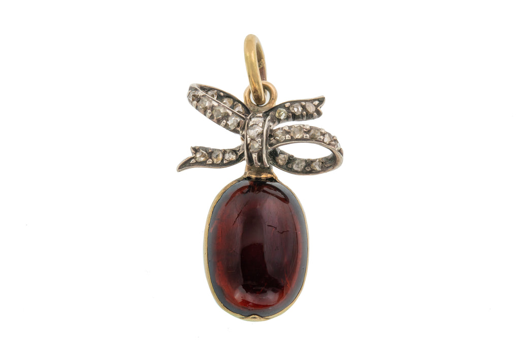 Victorian Garnet Rose Cut Diamond Bow Pendant