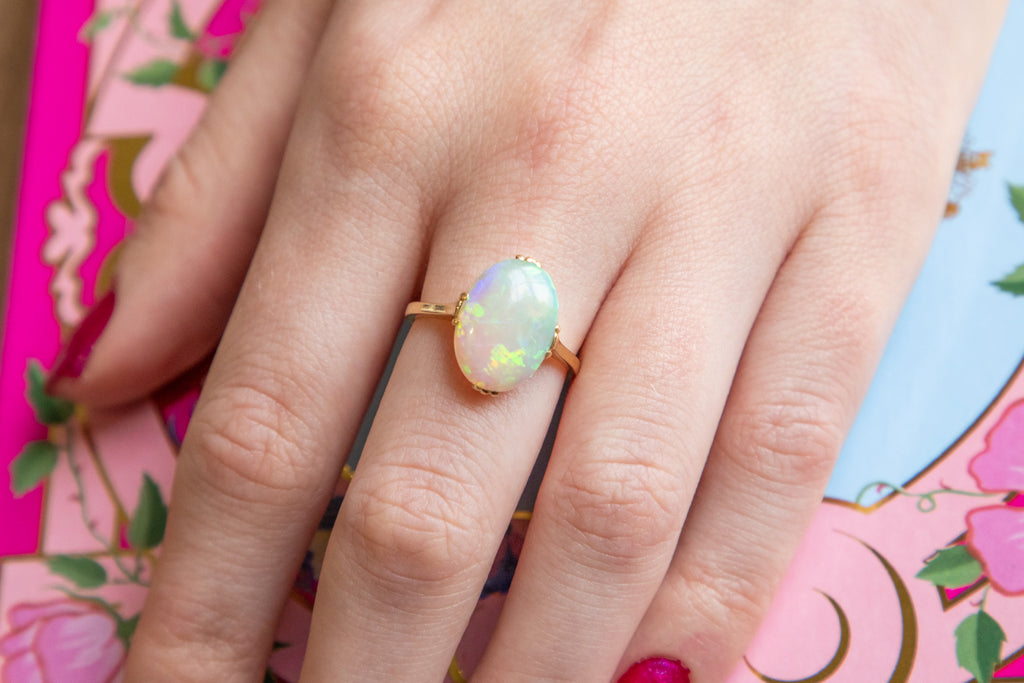 Art Deco 18ct Gold Opal Solitaire Ring, (0.86ct)