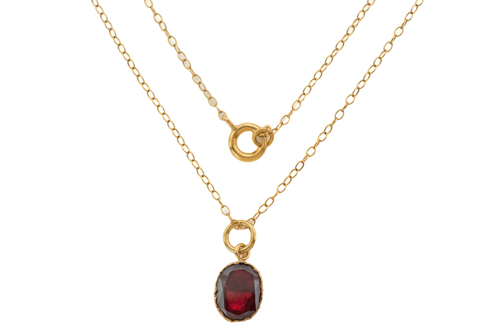 "Antique Gold Flat Cut Garnet Pendant (1.20ct), with 18"" Gold Chain"