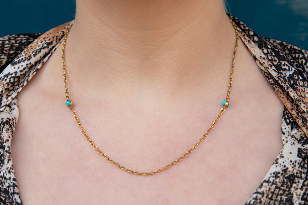 "Antique 15ct Gold Turquoise Chain, 18 & 1/2"" (6.4g)"