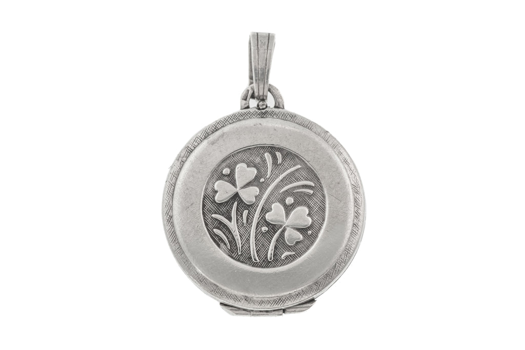 Antique Silver Shamrock Round Locket