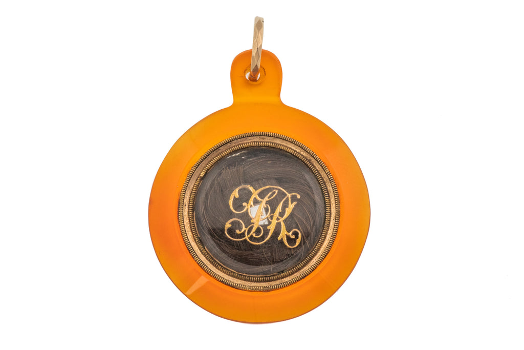 "Georgian 12ct Gold Carnelian Mourning Locket, ""JR"" 1803"