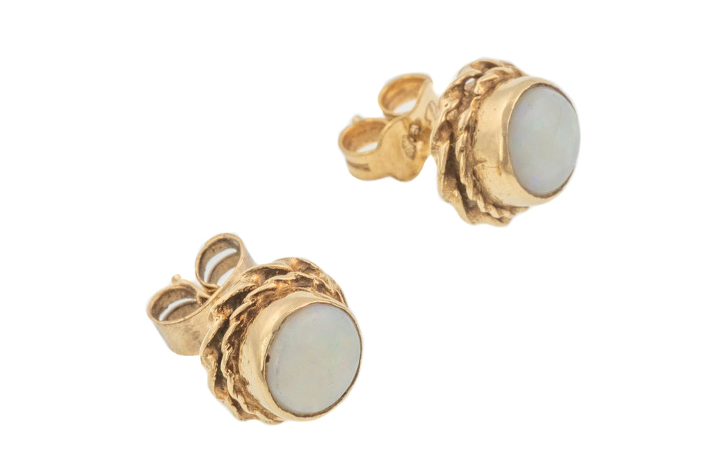 Victorian 9ct Gold Opal Stud Earrings, (0.60ct)