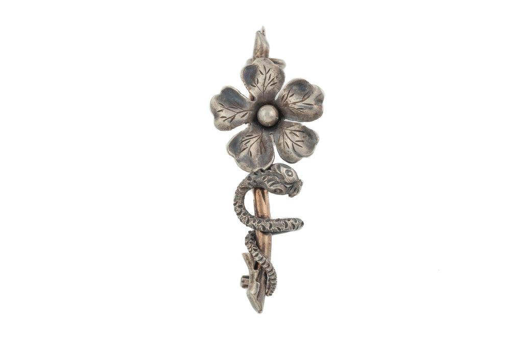 Antique French Silver Floral Snake Brooch