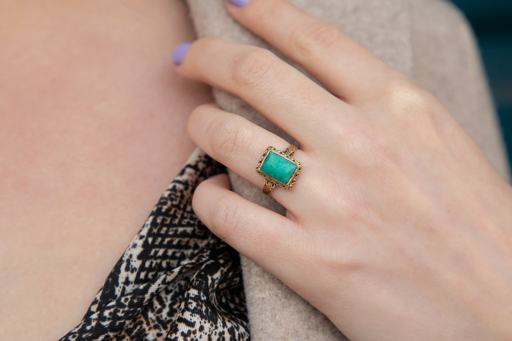Art Deco Gold Amazonite Ring