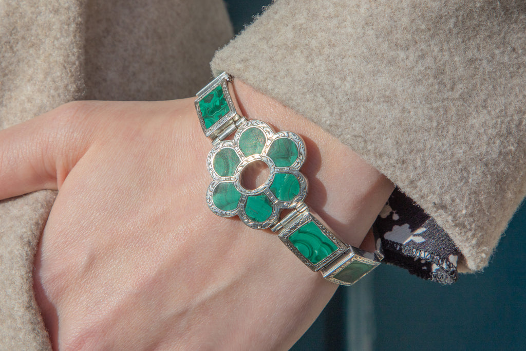 Victorian Silver Scottish Malachite Bracelet, 7""