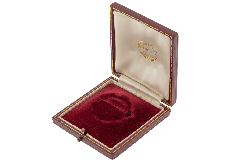 "Antique Red Leather Brooch Box, ""Tessier of London"""