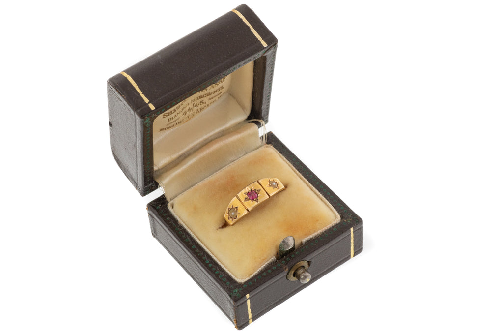 "Antique Dark Brown Leather Ring Box , ""Burlington Arcade, West London"""