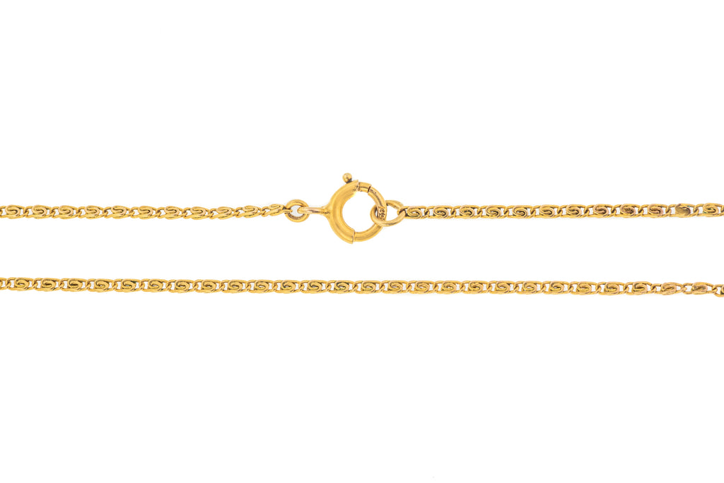 "Antique 12ct Gold 16"" Scrolled Link Chain (2.2g)"