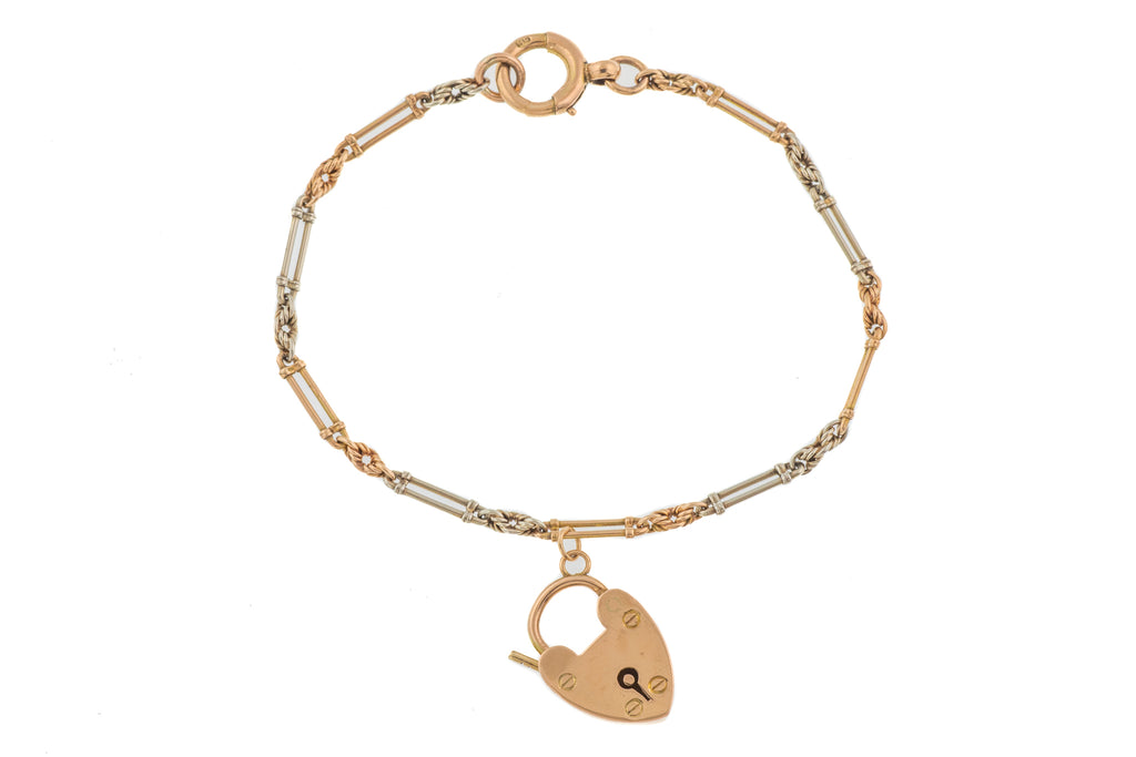 "Art Deco Two-Tone Gold Heart Padlock Charm Bracelet, 6 & 3/4"" (4.5g)"