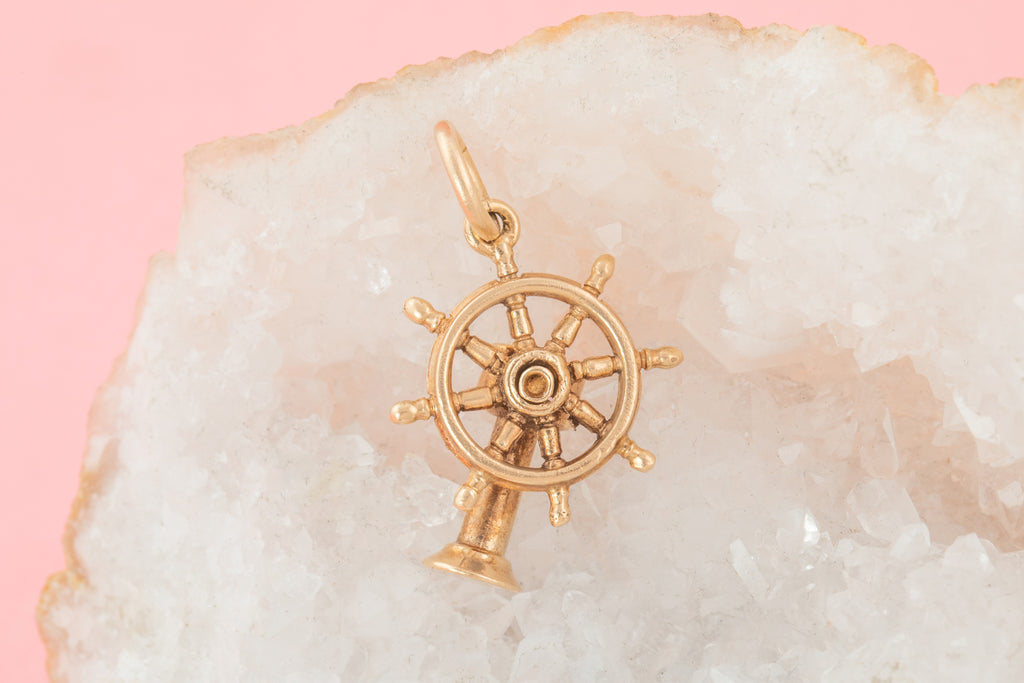 Victorian 9ct Gold Ships Wheel Charm
