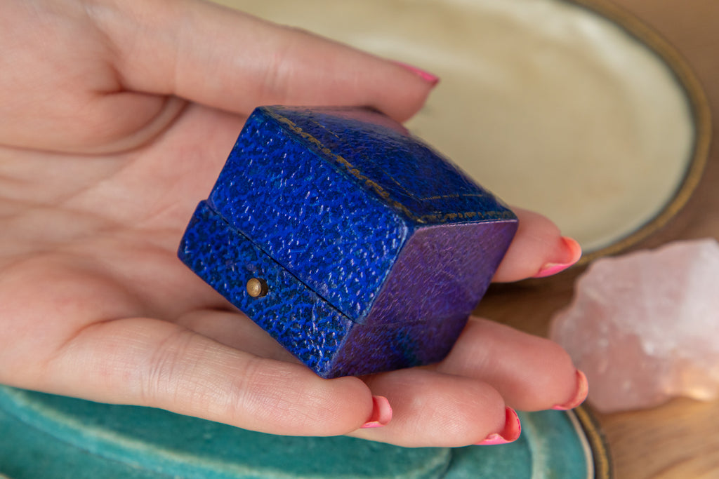 "Antique English Blue Ring Box, ""F.Hinds"""