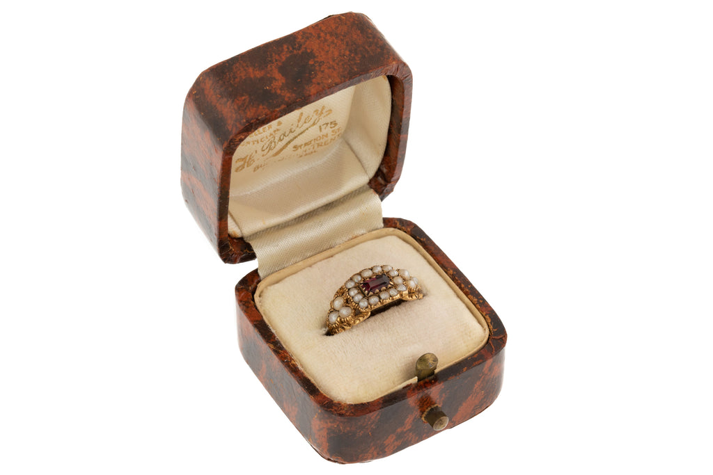 "Antique Ring Box Faux Tortoiseshell, ""H.Bailey"""