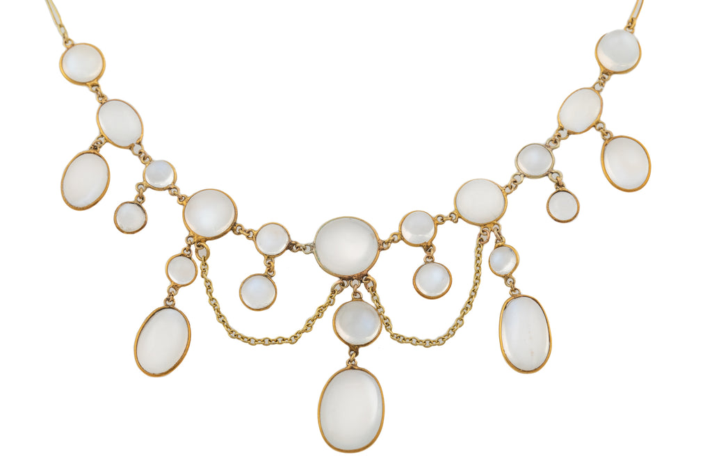 Edwardian 15ct Gold Moonstone Swag Necklace (22.10ct) , 17""