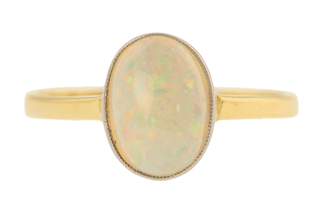 Art Deco 18ct Gold Opal Solitaire Ring, (0.80ct)