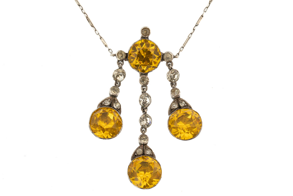 Art Deco Citrine Paste Silver Necklace, 20""