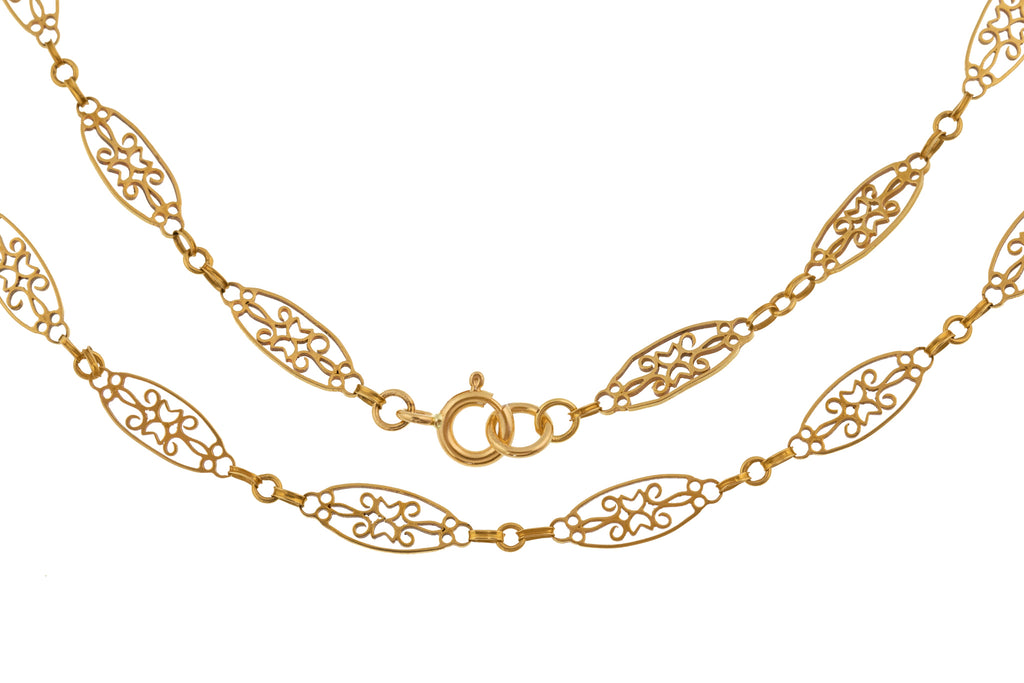 "16"" French 18ct Gold Filigree Chain (7g)"