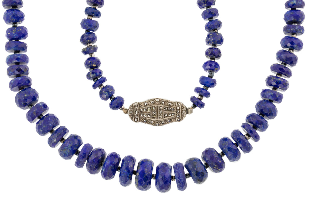 Art Deco Lapis Lazuli Beaded Necklace, 18""