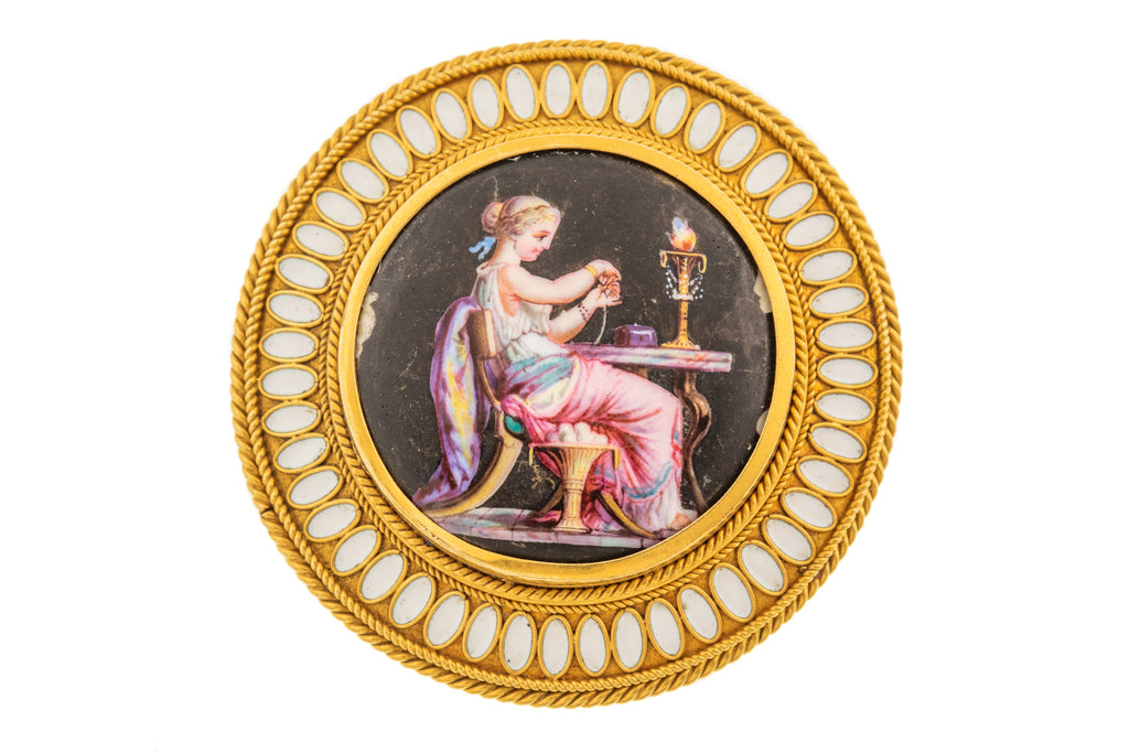 18ct Gold Antique Etruscan Revival Brooch with Enamel Portrait