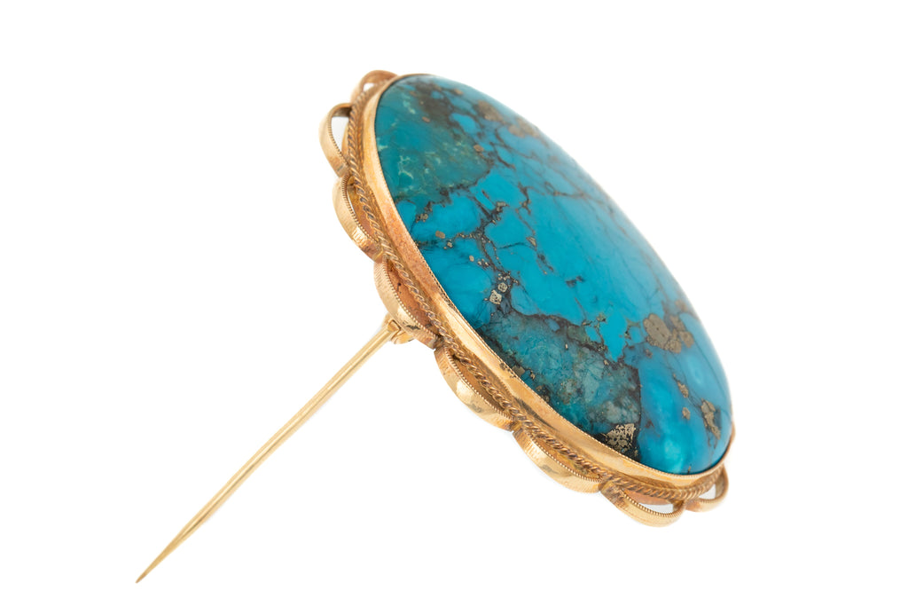 Large 9ct Gold Turquoise Brooch Pendant