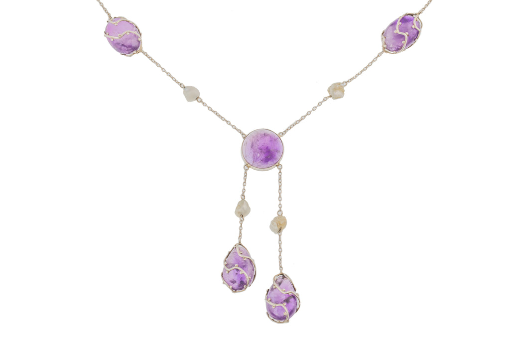 "Arts and Crafts Amethyst Pearl Drop Pendant (39.00ct), 17.5"" Integral Chain"