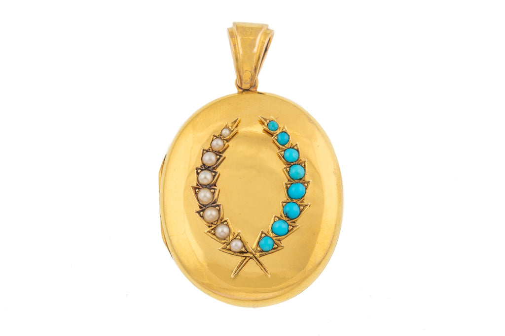 15ct Gold Turquoise Pearl Wreath Locket