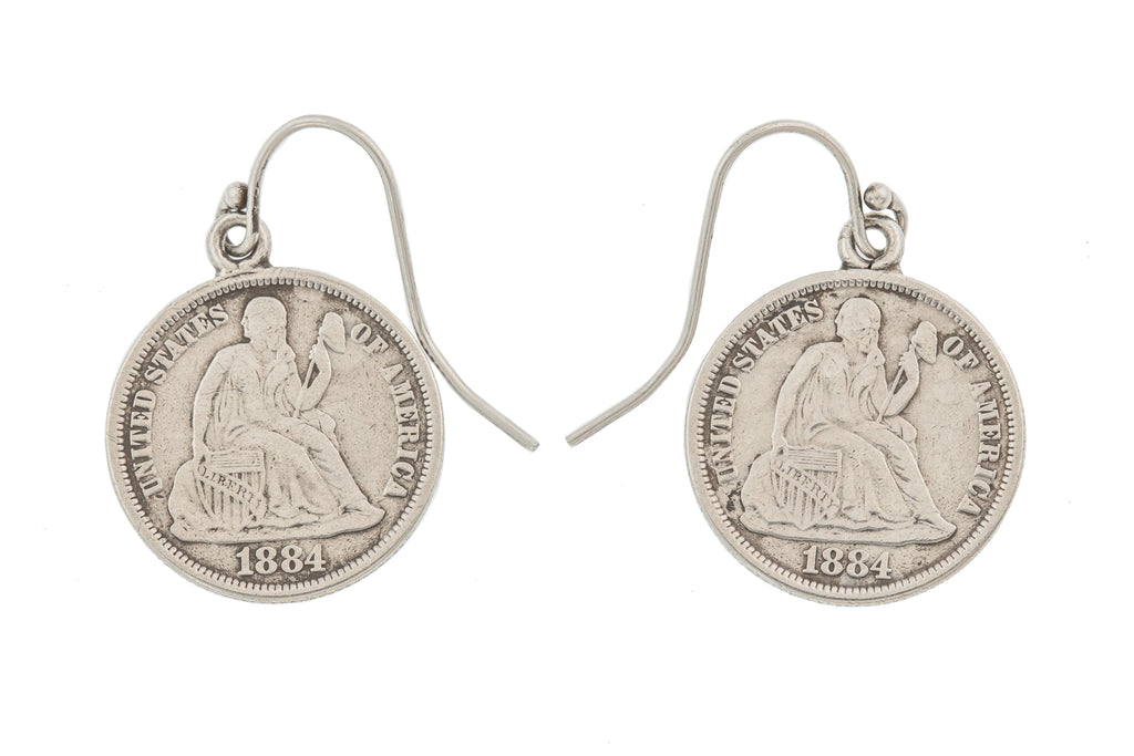 "American ""Liberty"" Coin Earrings, c.1884"