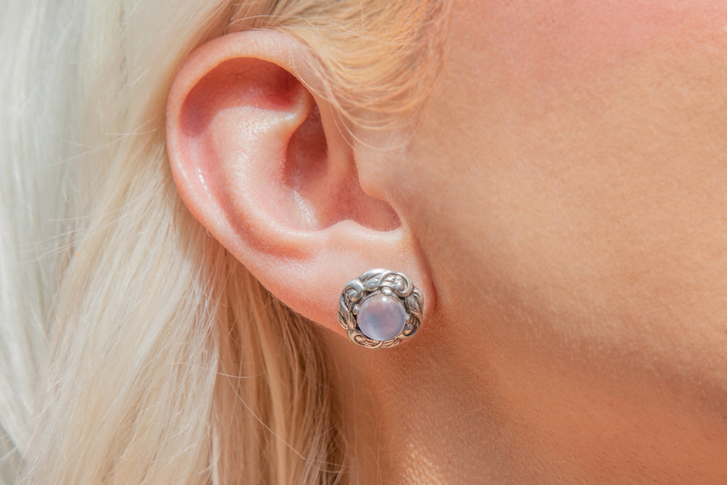 Blue Flash Moonstone Silver Stud Earrings (2.60ct)