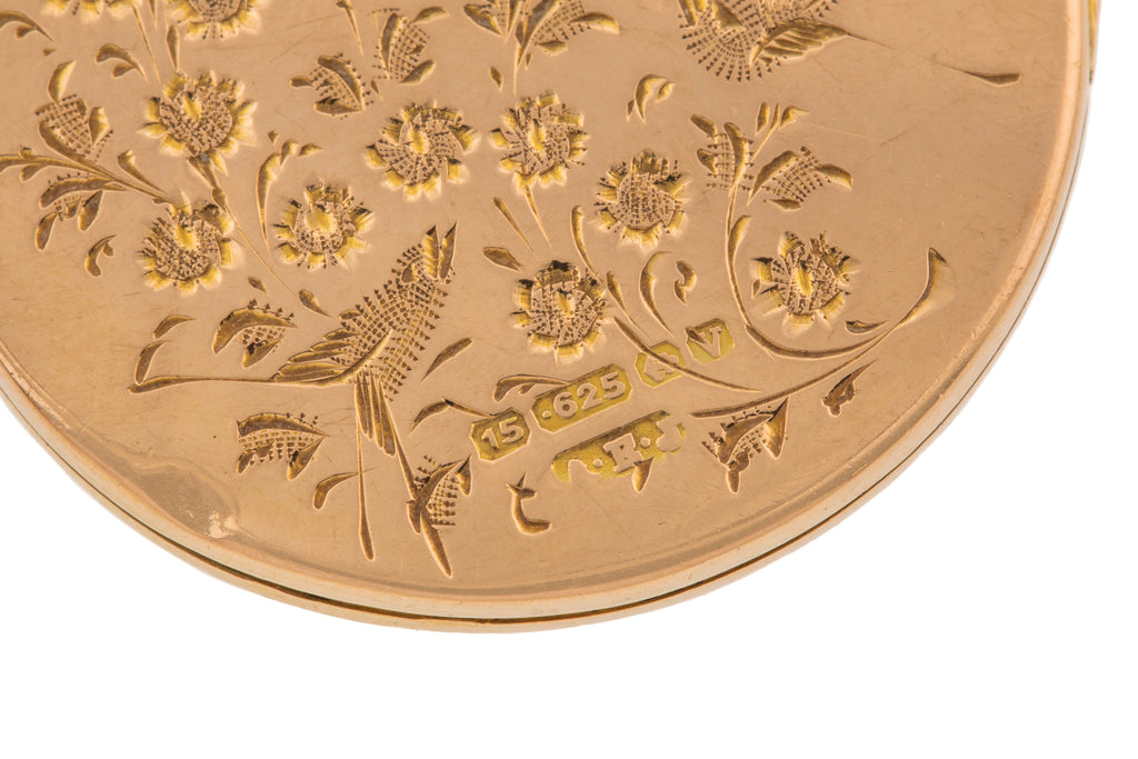 15ct Gold Round Bouquet of Flowers Locket, c.1870