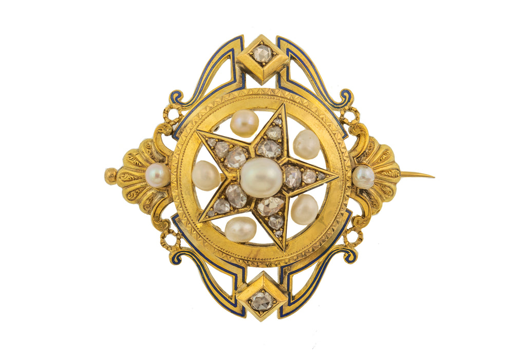 Antique 18ct Gold Diamond Pearl Star Brooch, (1.10ct)