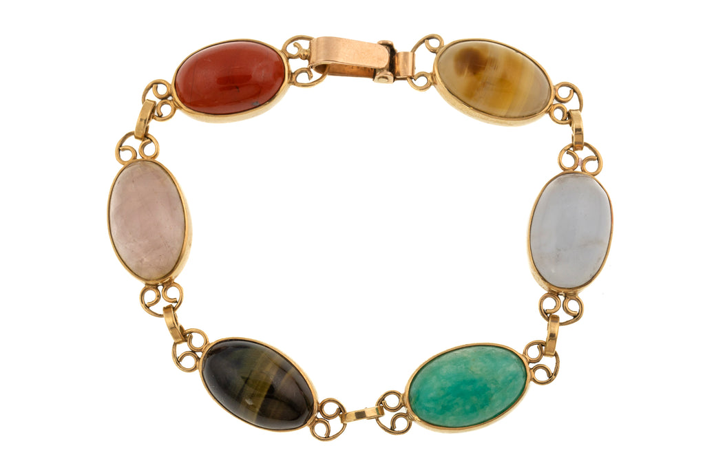 Art Deco Gold Multi Gemstone Bracelet, 7 & 1/2""