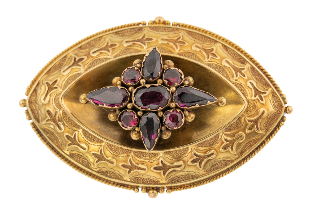 15ct Gold Etruscan Revival Garnet Brooch - Locket Back