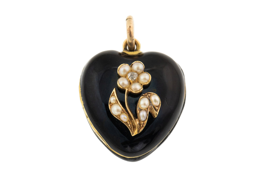 Antique Heart Locket - Black Enamel, Pearl & Diamond