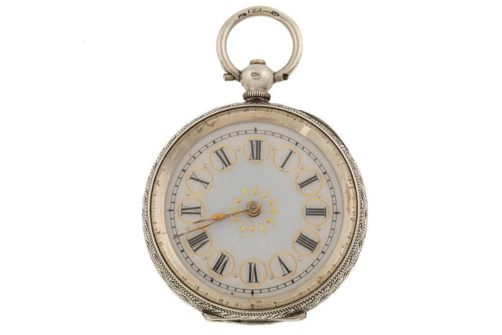 Antique Swiss Solid Silver Decorative Ladies Pocket Watch