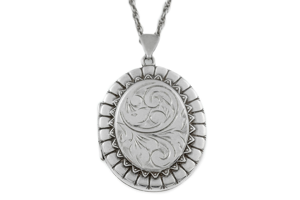 "Georgian Revival Silver Locket, with 21"" Chain"