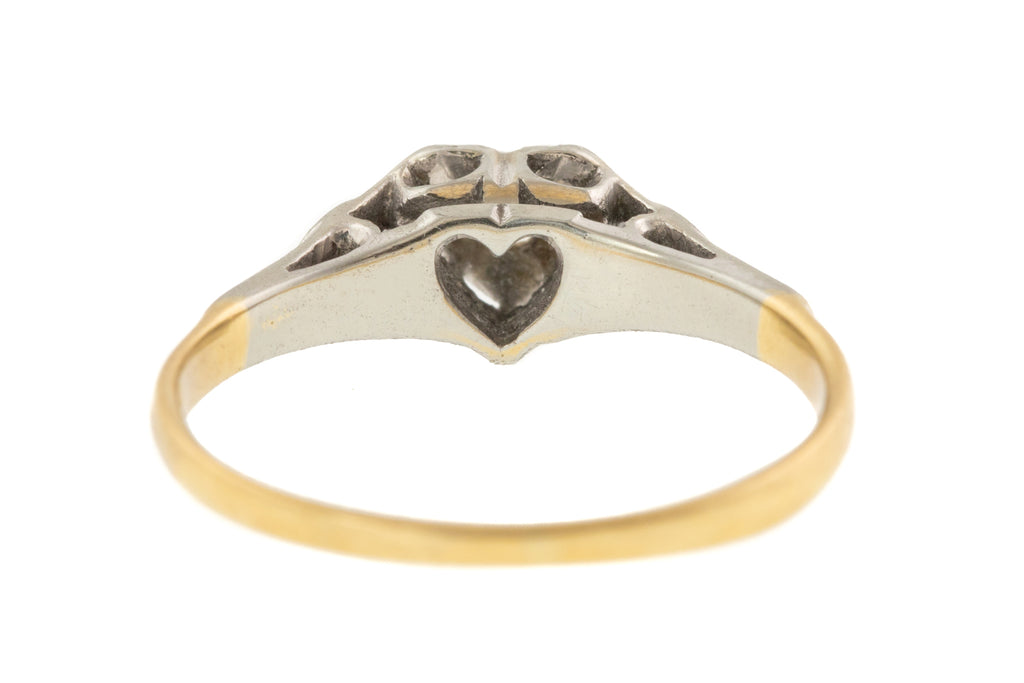 18ct Gold Art Deco Diamond Heart Engagement Ring