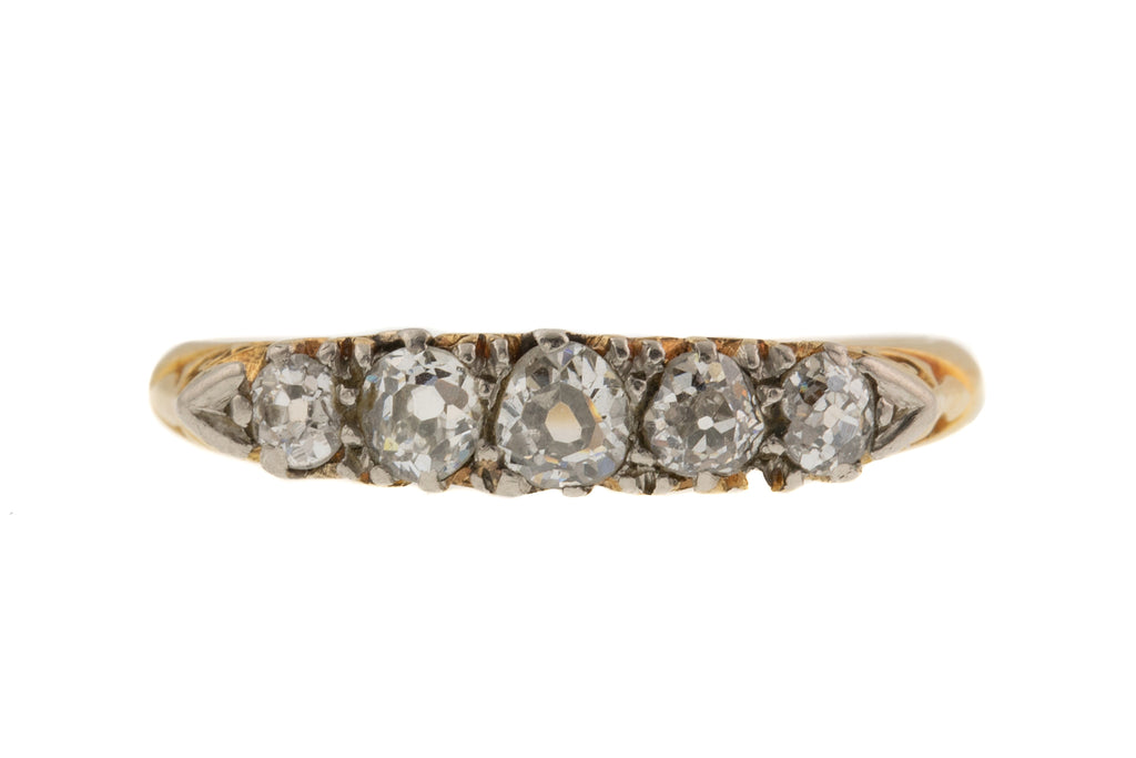 Antique 18ct Gold Five Stone 0.40ct Diamond Ring