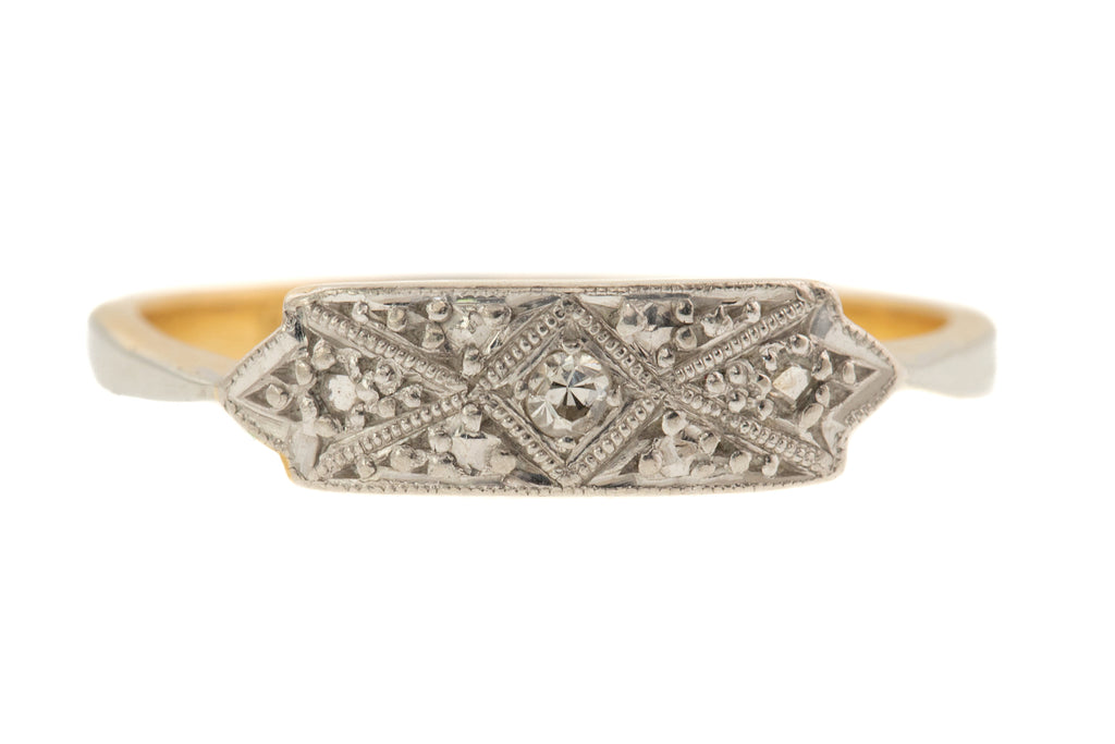 18ct Gold Art Deco Diamond Ring - Wedding Engagement Ring