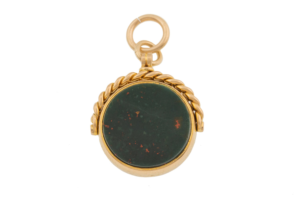 Victorian Gold Bloodstone Carnelian Spinner Fob c.1897