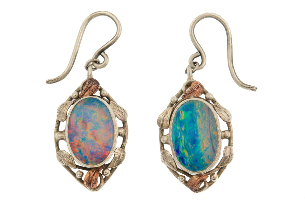 Art Nouveau Silver Opal Drop Earrings