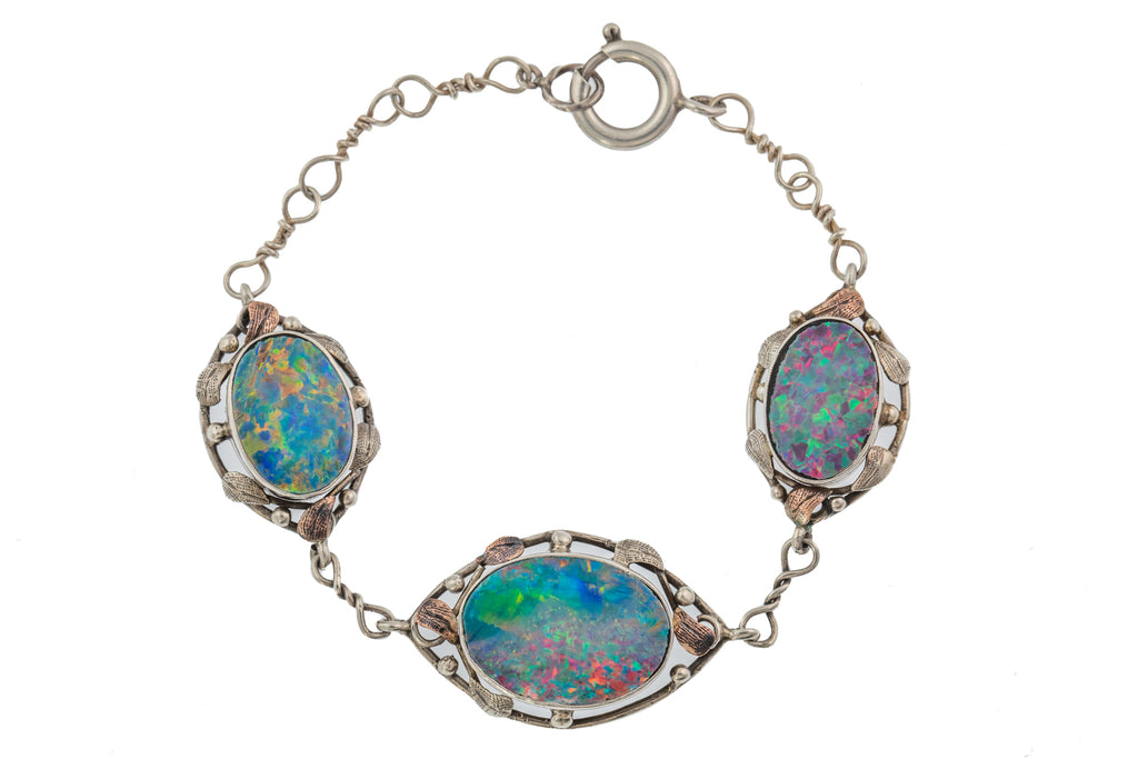Rare Arts & Crafts Opal Bracelet, 6.75""