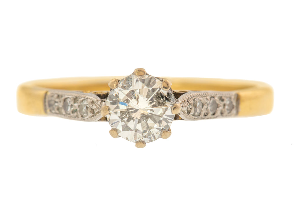 18ct Gold Diamond Ring (0.50ct) - with Diamond-set Shoulders