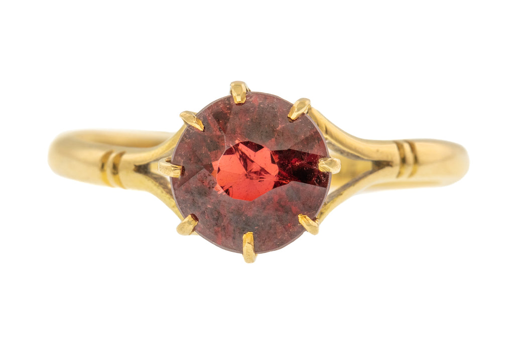 Antique 18ct Gold Garnet Solitaire Ring (1.10ct)