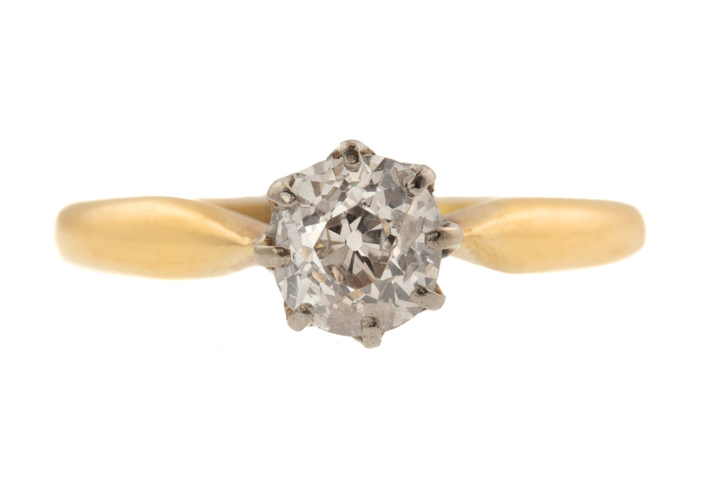 18ct Gold Diamond Solitaire Ring, 0.85ct, Old Mine Cut Diamond