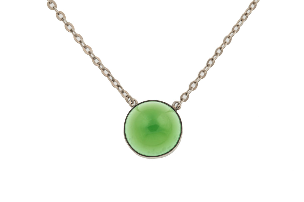 Silver Green Chalcedony Necklace, 15""