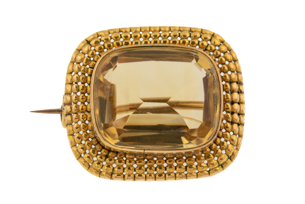 15ct Gold Georgian Citrine Brooch, (14.30ct)