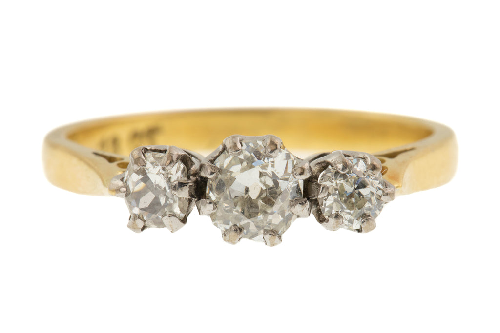 Art Deco 18ct Gold Diamond Trilogy Engagement Ring, (0.80ct)
