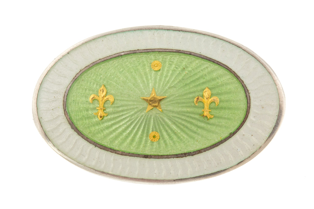 Art Nouveau Mint Green Enamel Silver Brooch