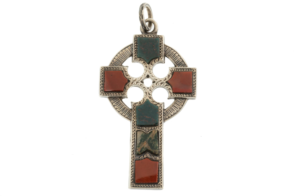 Large Celtic Scottish Agate Cross Pendant