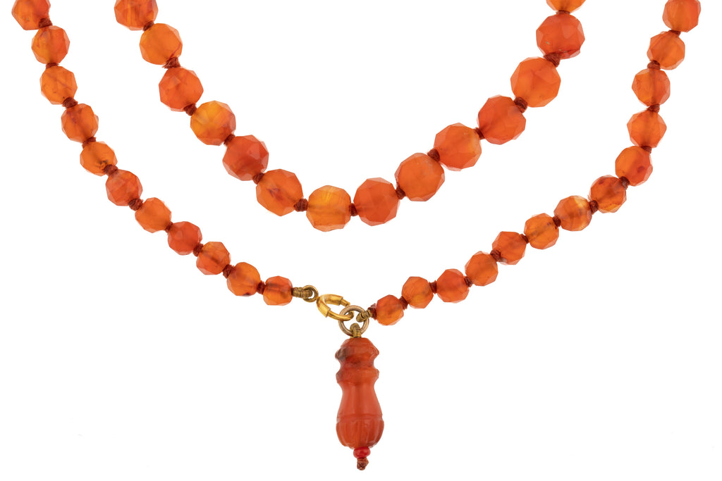 Victorian Faceted Carnelian Bead Necklace, 30""